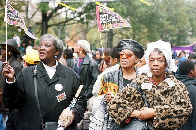 Women in attendance at The Million Woman March on October 25, 1997, in Philadelphia, Pennyslvania.