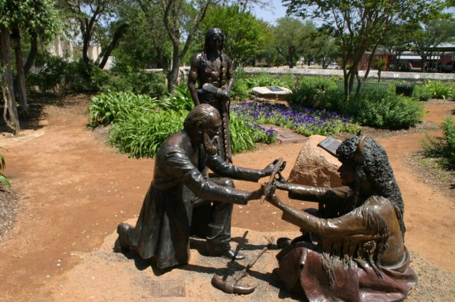 """Lasting Peace"" - Statue at Peace Garden, commemorating the peace treaty between settler John Meusebach and Chief Santa Anna of the Comanche Indians (via City-Data)"