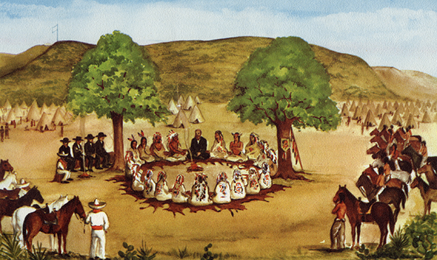 Treaty of Peace by John O. Meusebach and Colonist with the Comanche Indians, March 2, 1847. Copied from original painting by Mrs. Ernest Marschull, daughter of John O. Meusebach (via Texas State Library and Archive Commission)