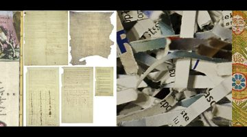 Stylized banner image consisting of a collage of different documents and historical objects