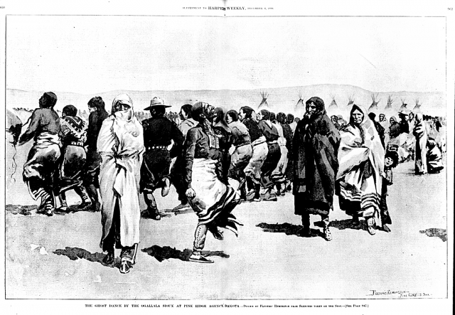 drawing of The Ghost Dance of 1889-1891 by the Oglala Lakota at Pine Ridge. Illustration by Frederic Remington, 1890.