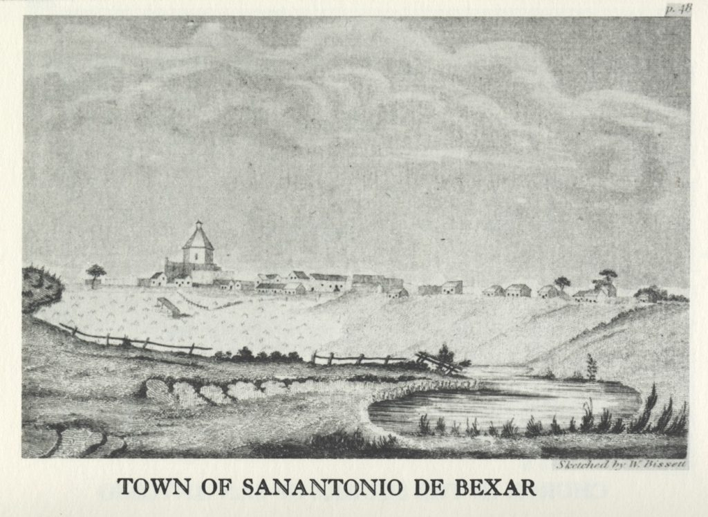 Black and white print depicting the Town of Sanantonio de Bexar