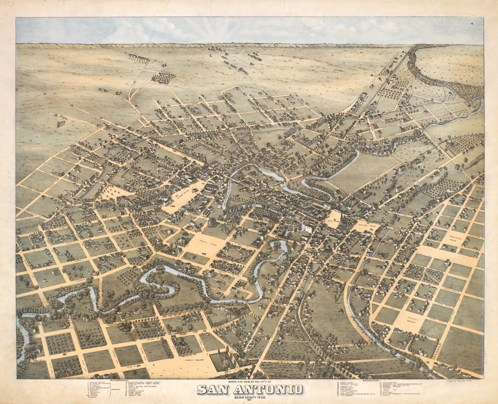 A print featuring a large map of San Antonio from the 19th century