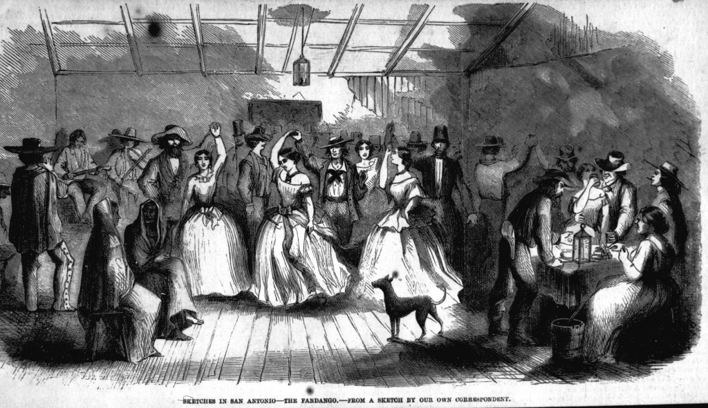 Black and white print entitled Sketches in San Antonio--The Fandango--From A Sketch by Our Own Correspondent