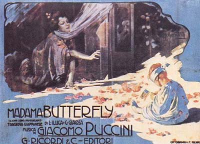 Original 1904 poster for Madame Butterfly by Adolfo Hohenstein