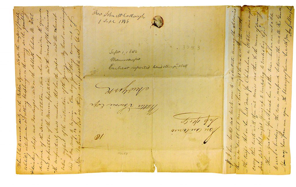 Photograph of a letter by Rev. John McCullough