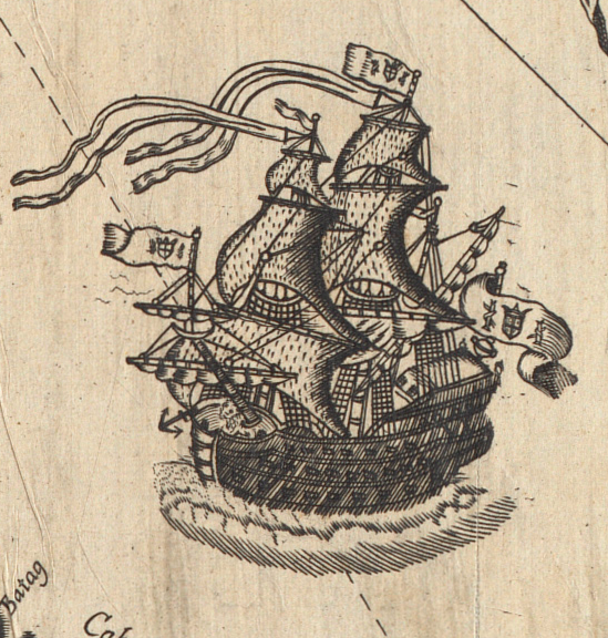 detail of an 18c map depicting a pirate ship sailing near the Philippines.