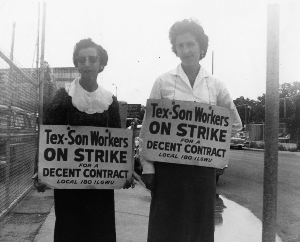 "Black and white image of two women carrying picket signs, Tex-Son ""On Strike"" for Local 180, ILGWU, San Antonio, 1963"