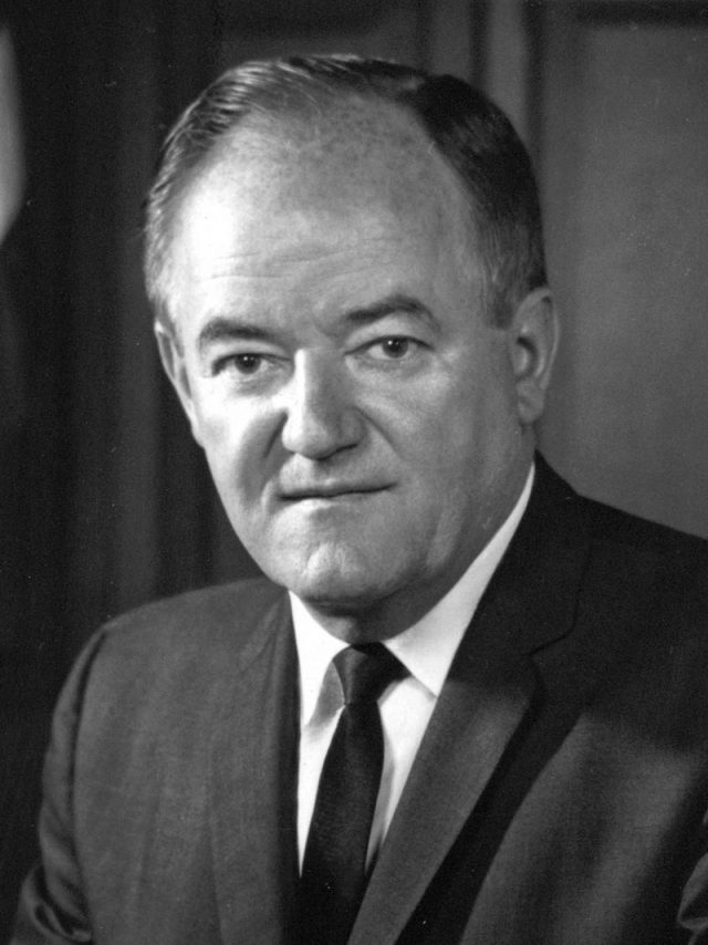 Black and white photograph of Hubert H. Humphrey