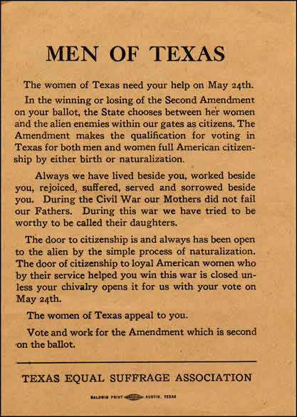 """Image of a printed flyer saying, """"Men of Texas: The women of Texas need your help on May 24th"""" issued by the Texas Equal Suffrage Association"""