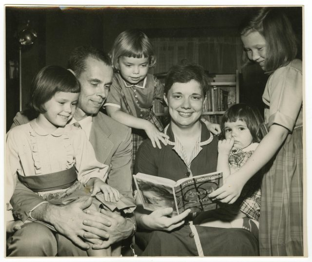 Alma Routsong and her family in a press photo for her novel Round Shape, 1959. Routsong carried on a relationship with another woman for a year in Champaign, Illinois, in the early 1960s before divorcing her husband. Curt Beamer for the News-Gazette. From the Isabel Miller Papers, Sophia Smith Collection, Smith College Libraries.
