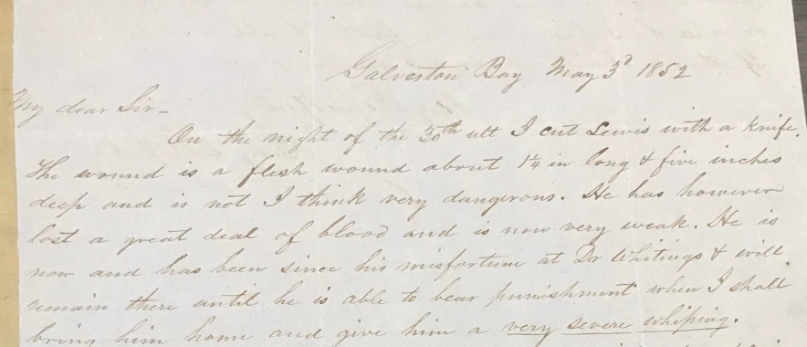 Photograph of part of a letter sent by Benjamin Roper, a plantation overseer, in 1852 to his employer