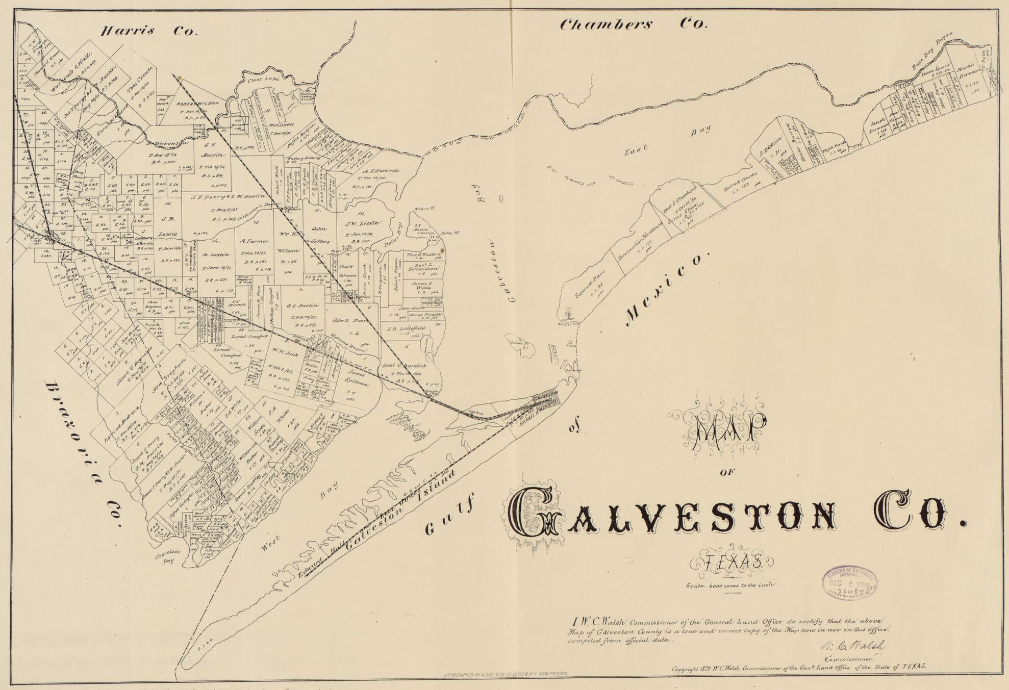Printed map of Galveston County for 1879