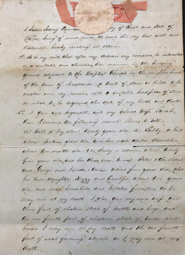 Photograph of the first page of Julien Sidney Devereux, Sr.'s will