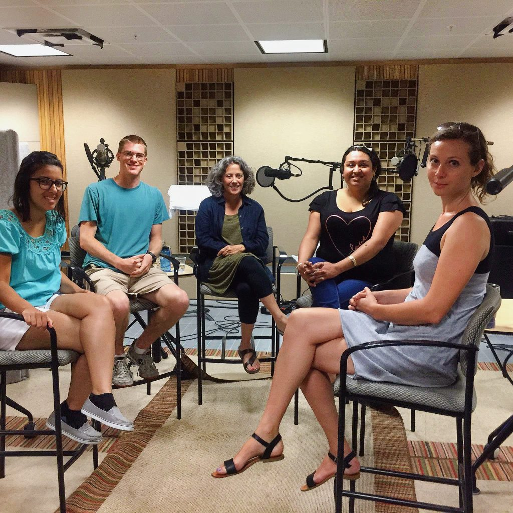 """Itza Carbajal, Maria Esther Hammack, Rebecca Johnston, John Lisle and Joan Neuberger during the recording of the 15 minute history podcast """"Episode 84: Behind the Tower: New Histories of the UT Tower Shooting"""""""