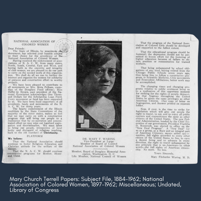 National Association of Colored Women Program, 1962. Mary Church Terrell Papers: Subject File, 1884-1962; National Association of Colored Women, 1897-1962; Miscellaneous; Undated, Library of Congress