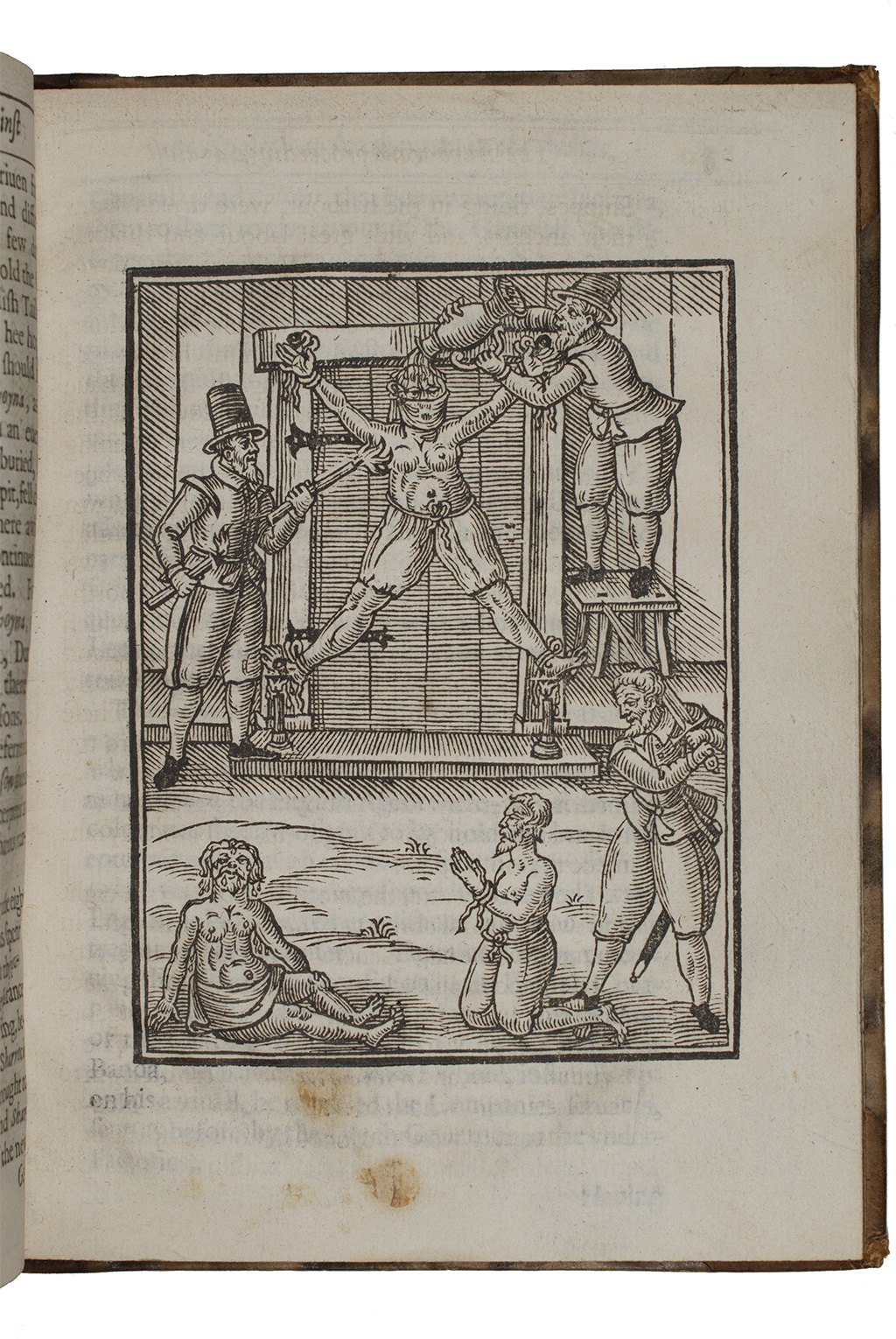 """A true relation of the vnivst, crvell, and barbarovs proceedings against the English at Amboyna in the East-Indies (London: Nathanael Newberry, 1624), sig. """"E3""""2. Harry Ransom Center Book Collection, DS 646.6 E2 1624b."""