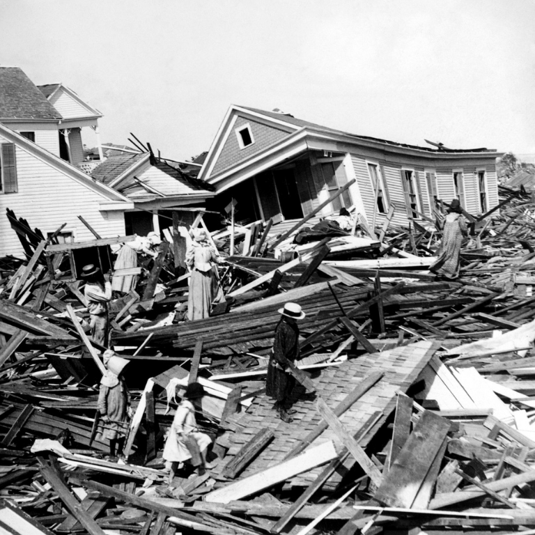 Black and white photograph of the City of Galveston, TX in the aftermath of the Galveston Hurricane of 1900