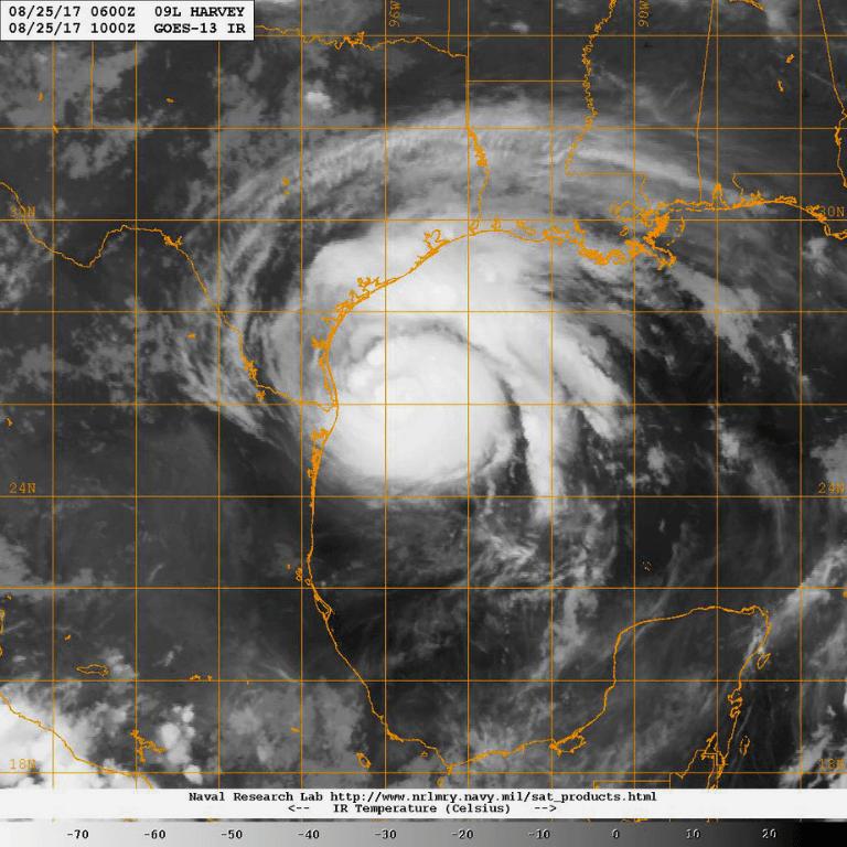 Satellite image of Hurricane Harvey making landfall in 2017