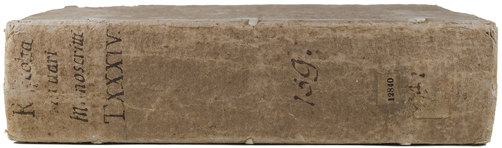 Spine of Harry Ransom Center, Ranuzzi Family Manuscripts, Ph 12840.