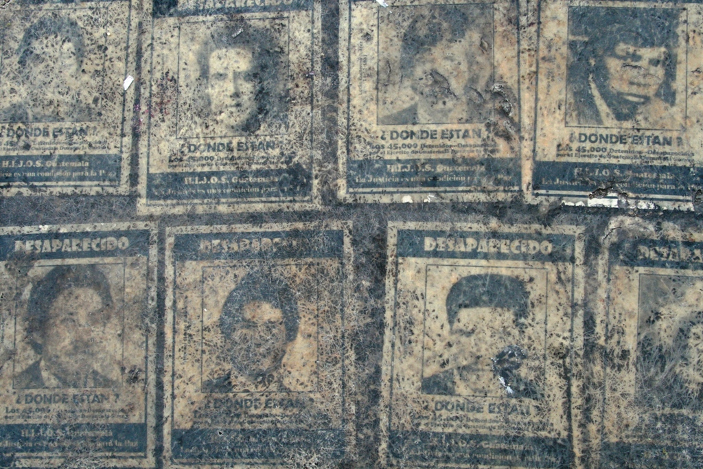 Images of los desaparecidos, the disappeared, in Guatemala.