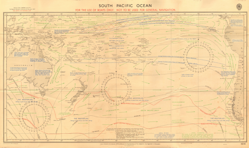 British Admiralty Chart No 5216 of the South Pacific Ocean, Published in 1942