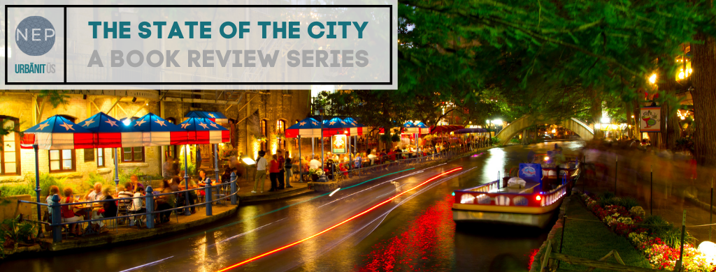 """The State of the City: A Book Review Series"" overlays a photo of the San Antonio Riverwalk"