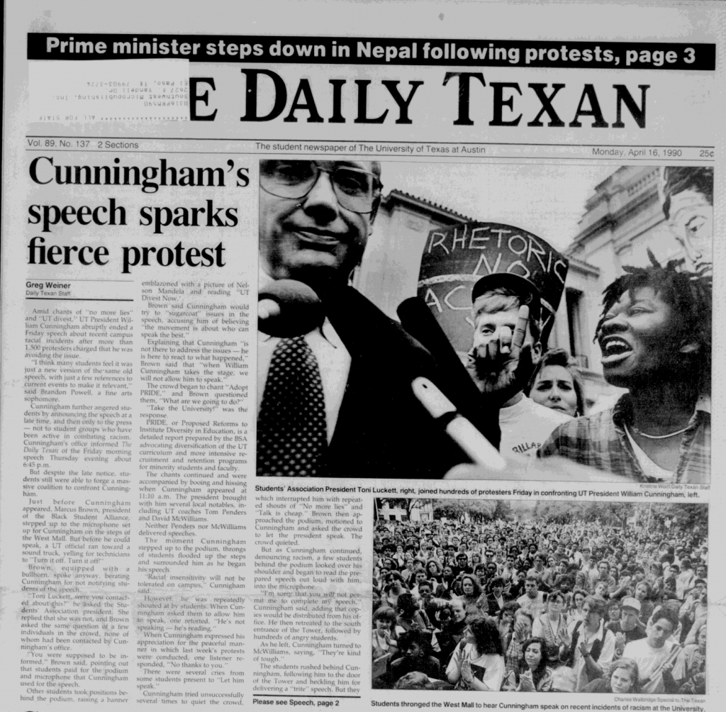 "Cover of the Daily Texan, headline reads ""Cunningham's speech sparks fierce protest"" alongside a photo of Luckett yelling at him"
