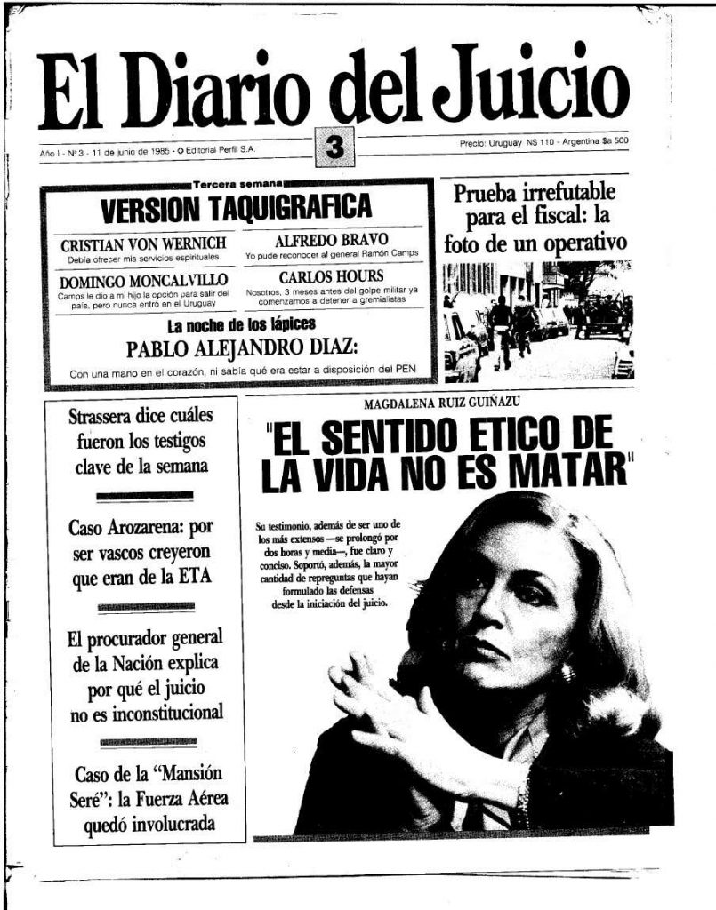 The cover of el diario del juicio features Magdalena Ruiz Guiñazú and notes that her testimony lasted more than two and a half hours.