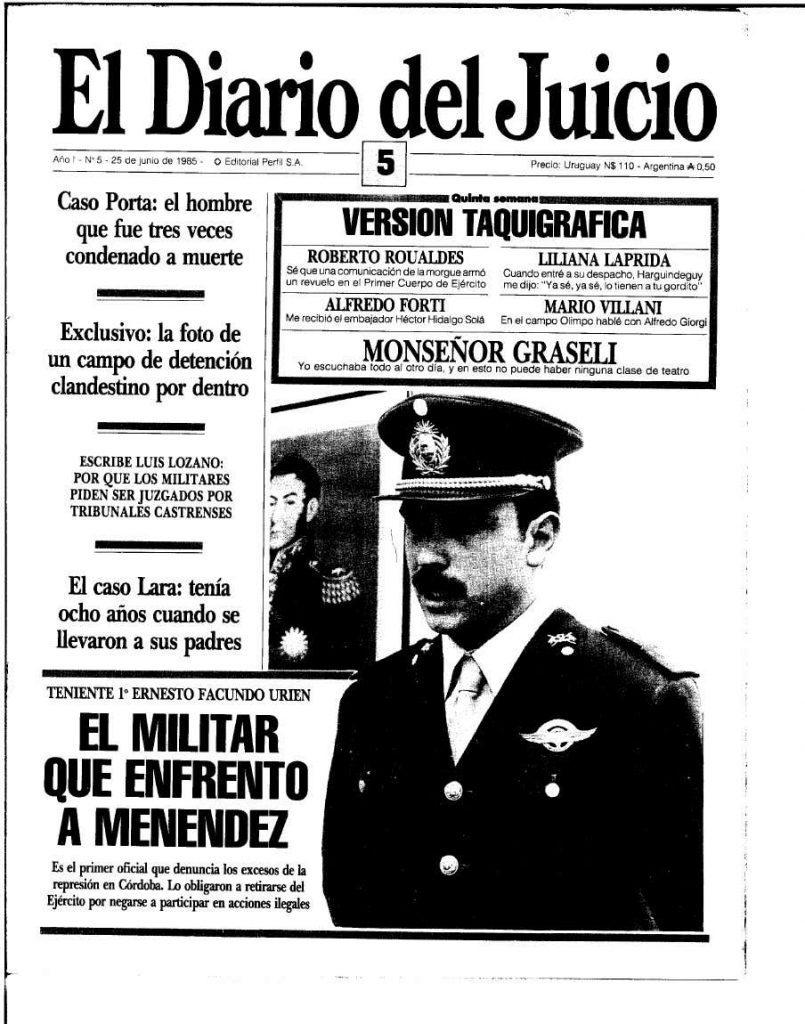Ernesto Facundo Urien on the cover of el diario del juicio just days after his testimony.