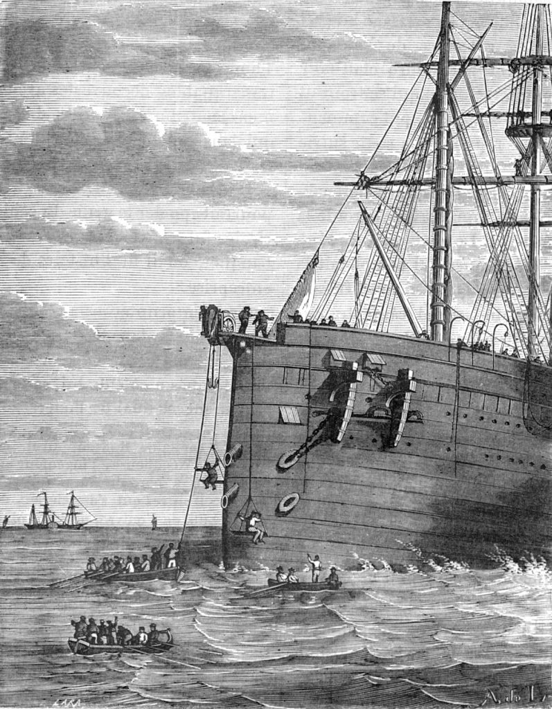 The Great Eastern grappling for the broken end of the Atlantic cable in August 1865