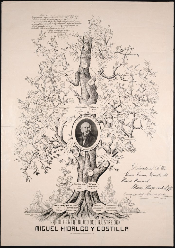 Arbol Genealógico del Ilustre don Miguel Hidalgo y Costilla (Genealogical Tree of the Illustrious Don Miguel Hidalgo y Costilla). An extensive family tree of Miguel Hidalgo