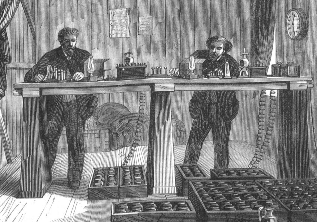 Illustration of the instrument room of the Atlantic cable station at Valentia, Ireland, in 1865
