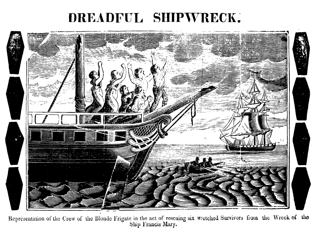 Representation of the Crew of the Blonde Frigate in the act of rescuing six survivors from the Ship Francis Mary