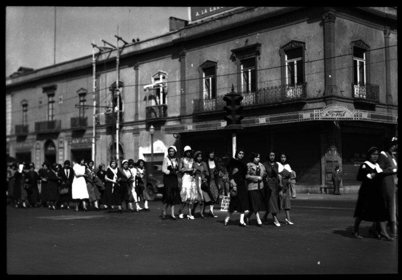 Feminist march in Mexico City, circa 1940s