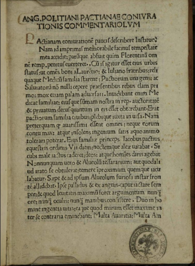 First page of Angelo Poliziano's Coniurationios Commentarium. 1478. Biblioteca Nazionale Centrale di Firenze, digitized for Early European Books.