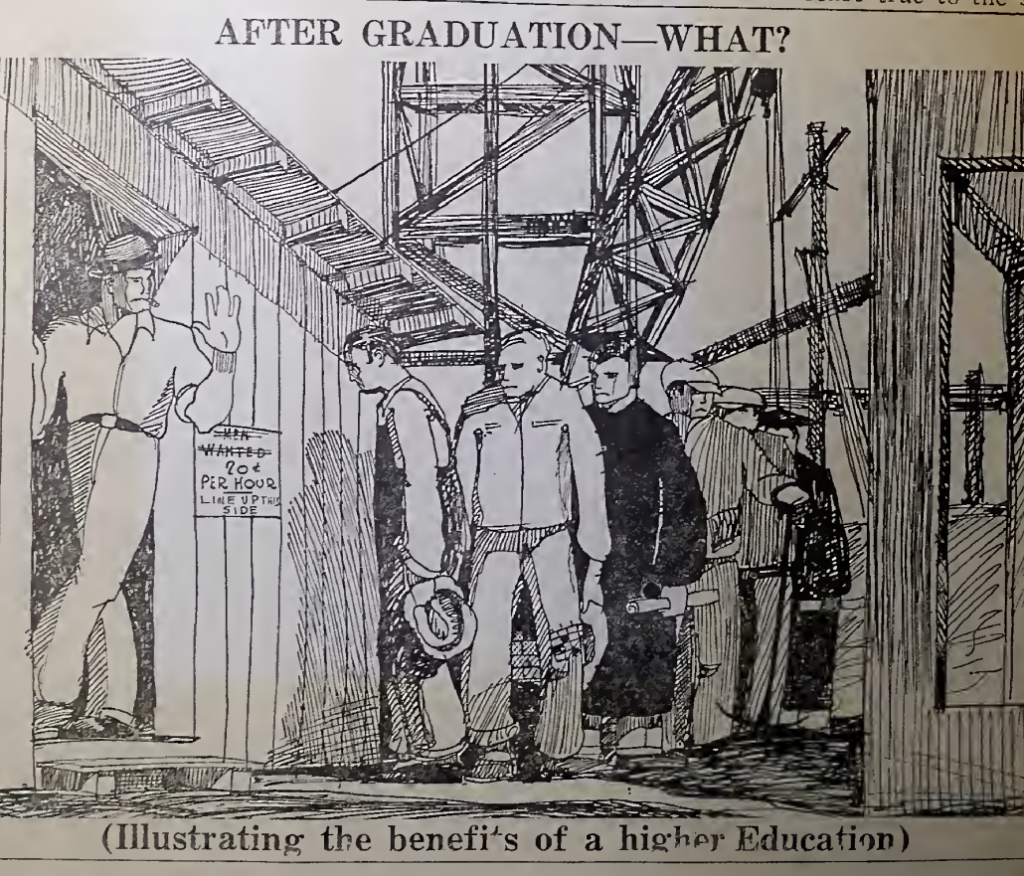 """Cartoon shows men waiting in line behind a sign saying """"20 cents per her"""". Caption reads: """"After graduation--what?"""""""