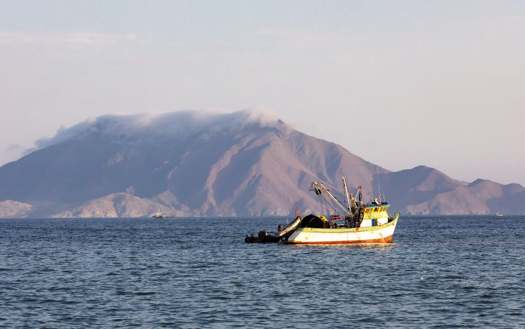 Fishing boat in the bay of Chimbote, Peru