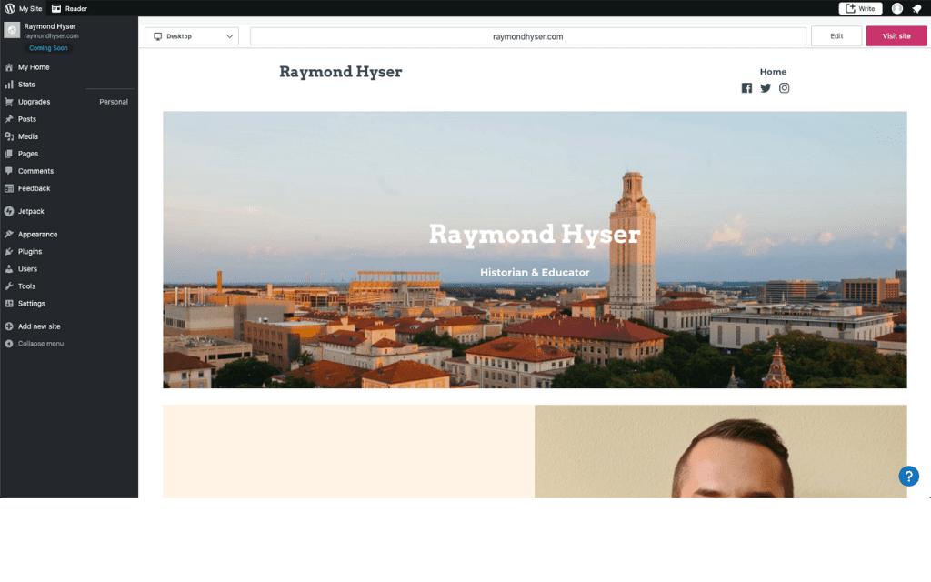 Screenshot of Raymond Hyser's WordPress website in the editor mode