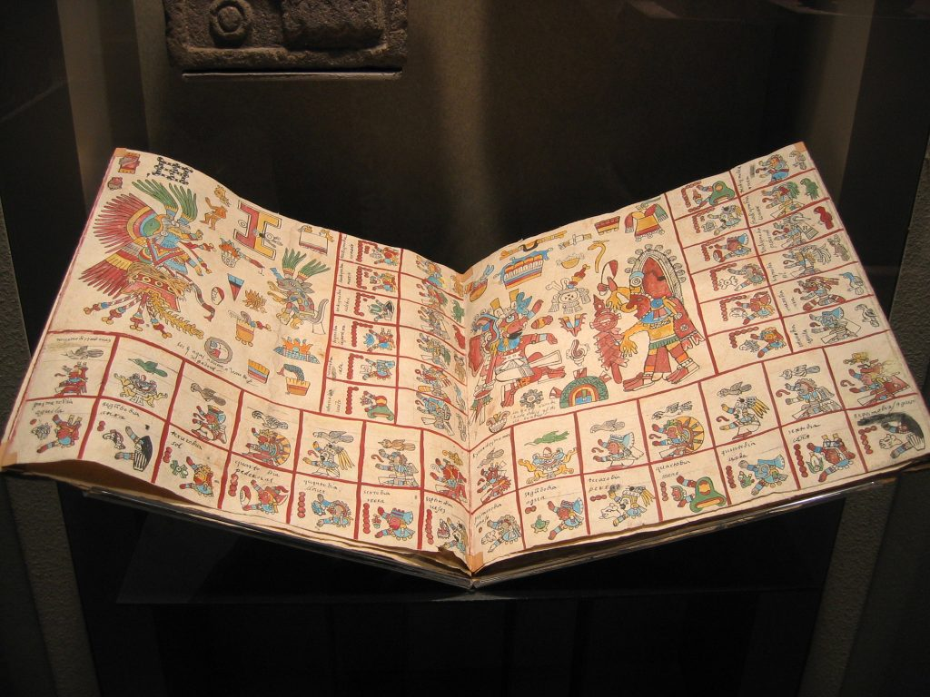 A facsimile of the Aztec Codex Borbonicus, a compilation of monthly celebrations, painted with natural materials on amatl bark paper.
