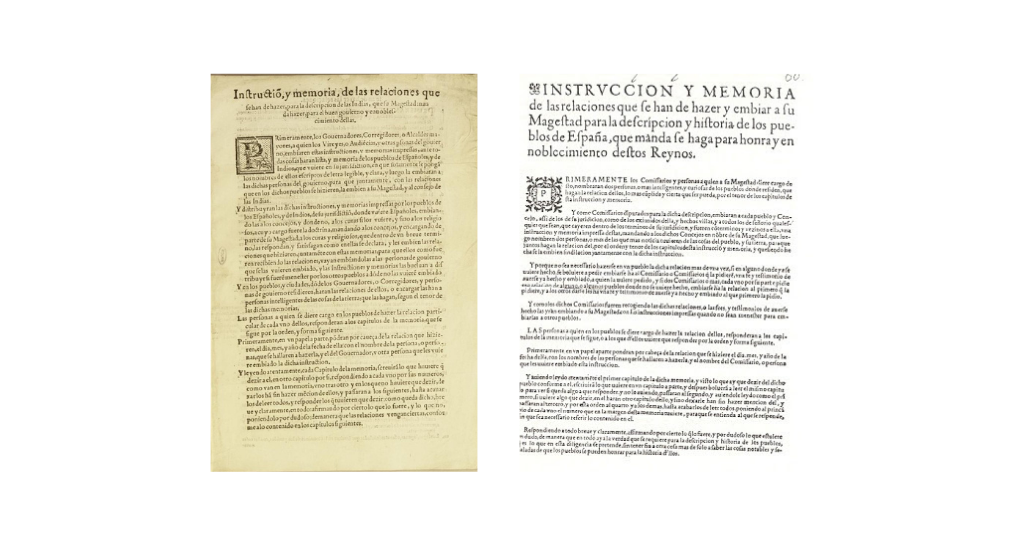 Figures 1 and 2: Frontispieces of the questionnaires of the Relaciones Geográficas (left) and Topográficas (right)