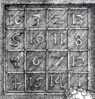 Fig. 4. Detail, Albrecht Dürer, and geometrical notation. Juan de Miranda, Melancholia 1, 1514.