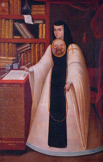 "Juan de Miranda, ""Portrait of Sor Juana Inés de la Cruz.""  c. 1713. Oil on Canvas. Patrimonio de la Universidad  Nacional Autónoma de México (UNAM)."