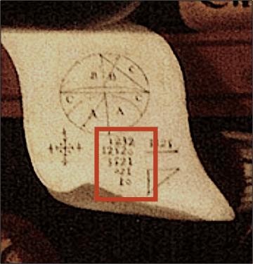"Fig. 3 - Detail, sheet of paper with numeric and geometrical notation. Juan de Miranda, ""Portrait of Sor Juana Inés de la Cruz."""