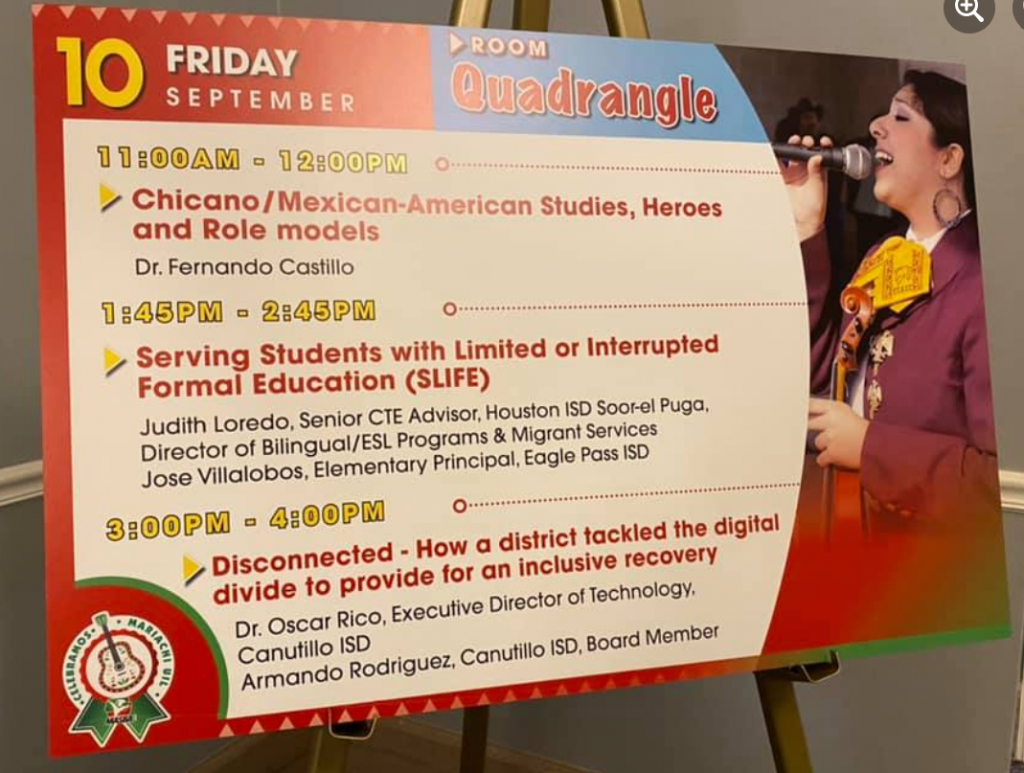 Conference poster featuring mariachi singer