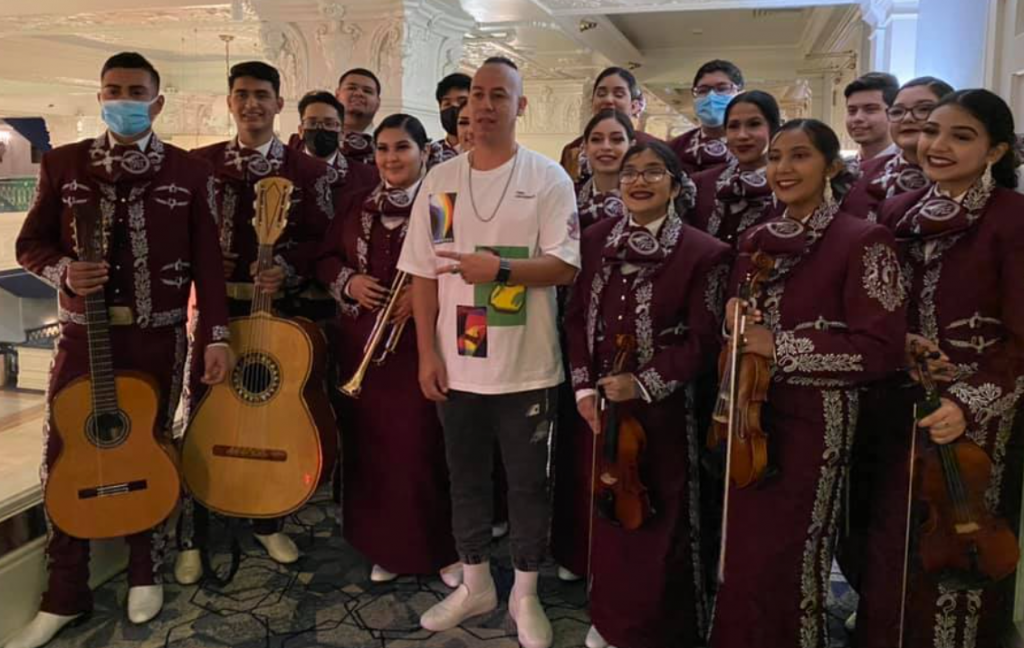 """Mariachi Espuelas de Plata, Fort Worth ISD, with David """"Olmeca"""" Barragán, a Hip-Hop performer and Instructor with the Interdisciplinary Gender and Ethnic Studies Department at the University of Nevada, Las Vegas, Keynote Speaker."""