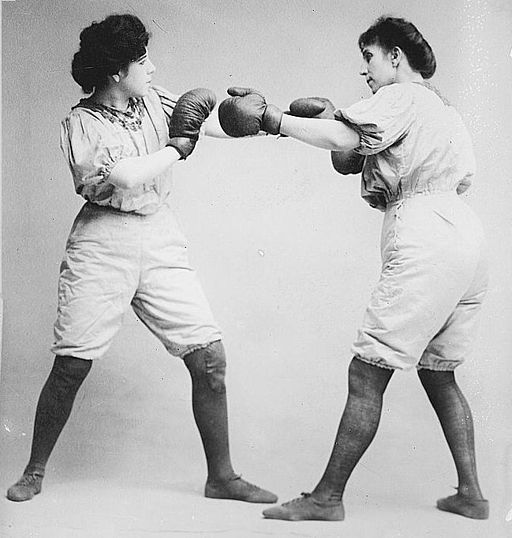 Black and white image of the Bennett sisters boxings, c. 1910