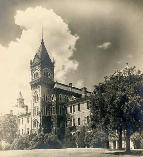 Black and white photograph of the Old Main Building at the University of Texas