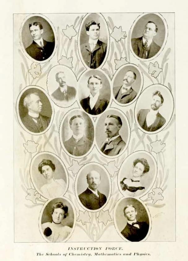 A black and white collage of faculty portraits from 1904 from the University of Texas schools of chemistry, mathematics and physics.