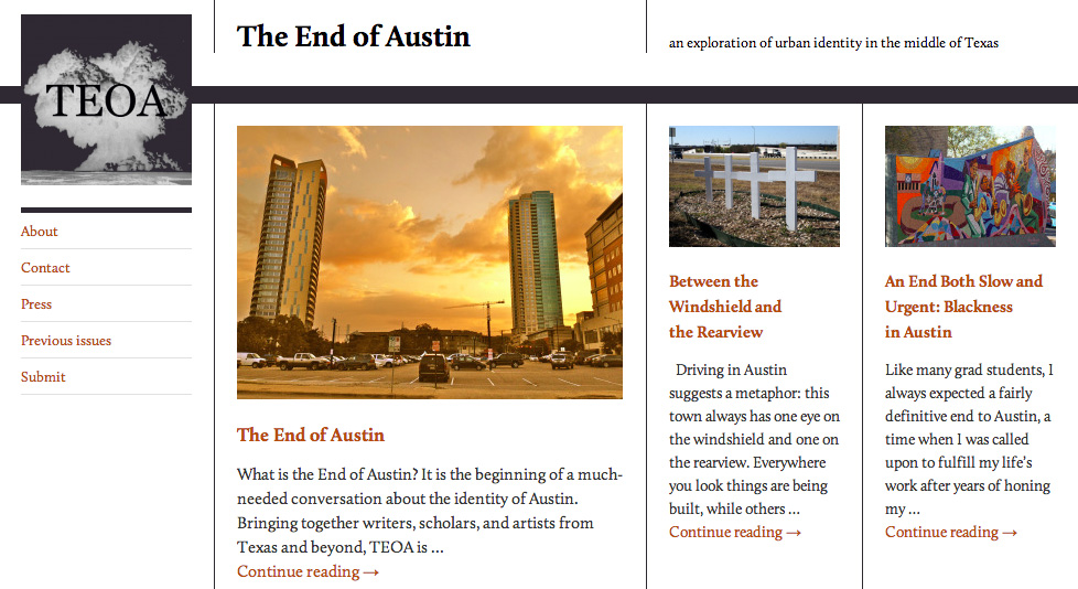 Screenshot of the homepage of The End of Austin website